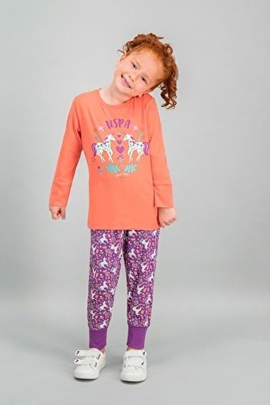U.S. Polo Assn. U.S. Polo Assn Lisanslı Kırmızı Kız Çocuk Pijama Takımı Pembe